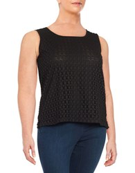 Nipon Boutique Plus Open Work Knit Tank Top Black