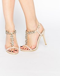 Ravel Embellished Heeled Sandals Nude Beige