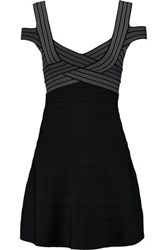 Herve Leger Woven Bandage Mini Dress Black