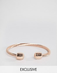 Reclaimed Vintage Twisted Metal Bangle Bracelet In Rose Gold Rose Gold