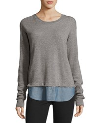 Current Elliott The Detention Sweatshirt Heather Gray Chambray Light Grey