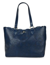 Paradox Large Perforated Leather Tote Navy