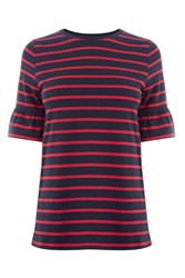 Warehouse Stripe Flute Sleeve Tee Red