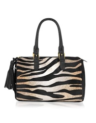 Fontanelli Calfhair Animal Print Satchel Black