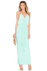 Misa Los Angeles Domino Tie Front Maxi Dress Turquoise