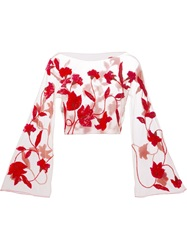 Giorgio Armani Vintage Sheer Sequin Flower Blouse Red