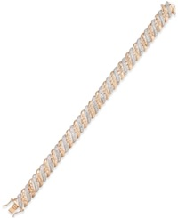 Macy's Diamond Accent Glitz Bracelet In 18K Rose Gold Plated Sterling Silver And Rhodium