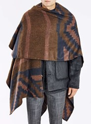 Topman Brown And Navy Aztec Cape Multi