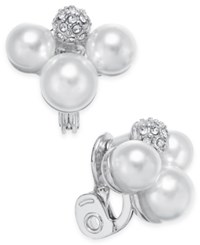Charter Club Silver Tone Imitation Pearl Cluster Clip Earrings Only At Macy's