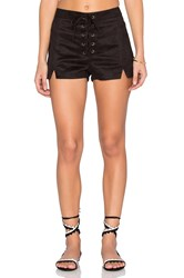 Lucca Couture Faux Suede Lace Up Notched Shorts Black