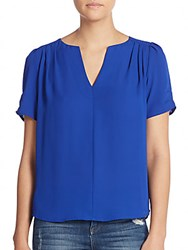 Collective Concepts Split V Neck Blouse Cobalt