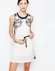 Jasmine Printed Dress With Tie Waist Cream