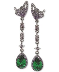 Betsey Johnson Hematite Tone Butterfly And Green Stone Linear Drop Earrings Silver