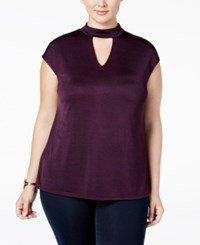 Inc International Concepts Plus Size Mock Neck Keyhole Top Only At Macy's Purple Paradise