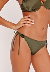 Missguided Mix And Match Tie Side Bikini Bottoms Khaki Beige