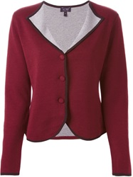 Armani Jeans Contrasting Lapel Cardigan Red
