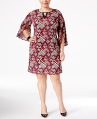 Ny Collection Plus Size Printed Tulip Sleeve Dress Berry Geometry