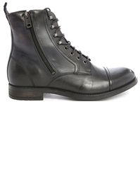 Diesel D Kallien Black Side Zip Tip Toe Laced Boots
