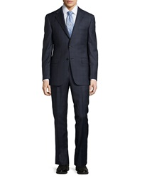 Hickey Freeman Two Piece Plaid Wool Suit Navy