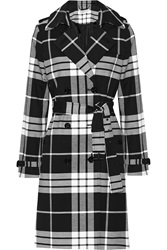 Michael Michael Kors Plaid Cotton Blend Trench Coat Black