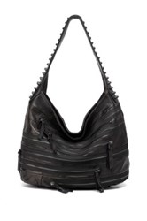 Vicenzo Leather Swagger Gold Studded Hobo Jeans Leather Handbag Black