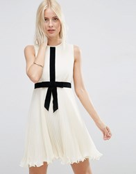 Asos Occasion Pleat Skater Dress With Contrast Bow Ivory White