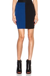 T By Alexander Wang Two Tone Fitted Rayon Blend Skirt In Blue Black