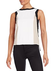 Calvin Klein Colorblock Hi Lo Top Cream Black Khaki