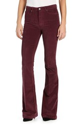 Paige Women's 'Bell Canyon' High Rise Corduroy Flare Pants Midnight Plum