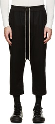 Rick Owens Black Wool Cropped Lounge Pant