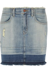 J Brand Lela Distressed Denim Mini Skirt Blue