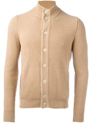 Barba Ribbed High Neck Cardigan Nude Neutrals