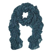 East Knitted Ruched Scarf Teal