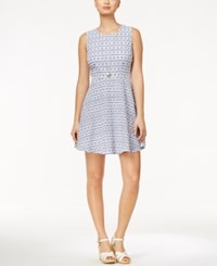 Maison Jules Gingham Print Eyelet Fit And Flare Dress Only At Macy's Blu Notte Combo