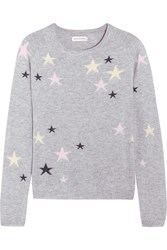 Chinti And Parker Star Intarsia Cashmere Sweater Light Gray