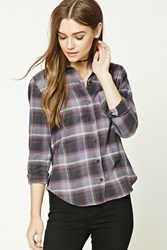 Forever 21 Plaid Flannel Shirt Charcoal Purple