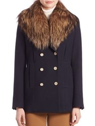 Theory Overby Fur Trim Peacoat
