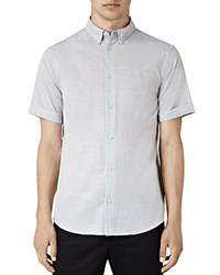 Allsaints Avila Slim Fit Button Down Shirt Light Gray