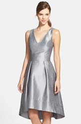 Women's Alfred Sung Satin High Low Fit And Flare Dress Quarry