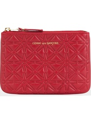 Comme Des Garcons Wallet Quilted Zip Wallet Red