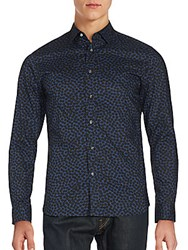 Kent And Curwen Long Sleeve Button Down Cotton Shirt Navy