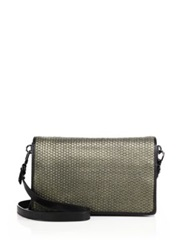Christopher Kon Gunner Mini Woven Leather Crossbody Bag Black Gold
