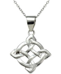 Macy's Filigree Abstract Pendant Necklace In Sterling Silver