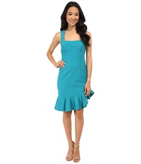 Nicole Miller Techy Crepe Scoop Neck Dress W Ruffle Teal Women's Dress Blue
