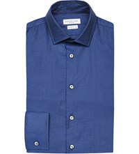 Richard James Textured Selfspot Cotton Shirt Blue