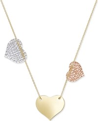 Macy's Tri Tone Triple Heart Necklace In 10K White Rose And Yellow Gold