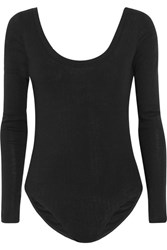 Splendid Ribbed Cotton And Cashmere Blend Bodysuit Black