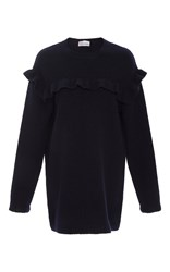 Red Valentino Oversized Ruffle Sweater Navy