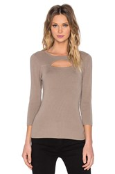 525 America Cut Out Rib Top Beige