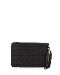 Isabella Fiore Emma Flower And Diamond Perforated Clutch Black